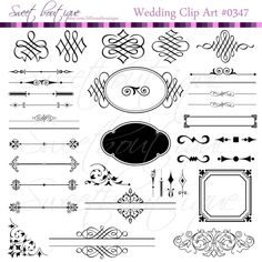BLACK Wedding clipart Clip Arts Vintage Frames by MSweetboutique, $5.99
