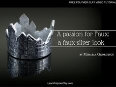 A faux silver look made with polymer clay, gilding silver foil, a clear stamp, black ink and silver pigment Fimo Clay, Polymer Clay Beads, Clay Videos, Clay Stamps, Paper Clay, Clay Tutorials, Clay Projects, Crafts To Make, At Least