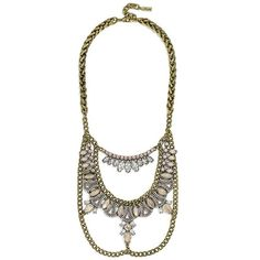 BaubleBar 'Raja' Bib ($68) ❤ liked on Polyvore featuring jewelry, necklaces, opal, woven necklace, chain bib necklace, chain necklaces, long bib necklace and braided chain necklace
