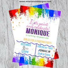 Paint Party invite by #MichelleHairstonDesigns.  Available on Etsy