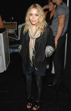 Mary-Kate Olsen in a colorful scarf, leather jacket & strappy sandals #style #fashion #mka #celebrity