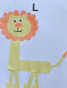 L is for Lion - use twirly pasta for a mane