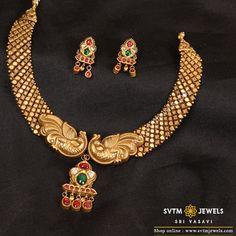 Stylish Gold Necklace From Sri Vasavi Thanga Maligai ~ South India Jewels Prom Jewelry, Wedding Jewelry, Gold Jewellery, Diamond Jewelry, Temple Jewellery, Beaded Jewelry, Antique Jewellery Designs, Jewelry Design, Terracota Jewellery