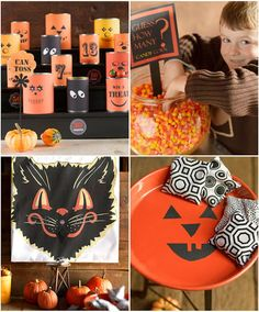 halloween carnival games: 1. bozo buckets, 2. guess how many candy corn, 3. pin the tongue on the black cat, 4. toss bean bags on a pumpkin tray