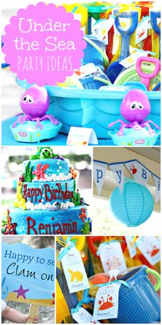 What a great Under the Sea boy birthday party with fun party decorations and favors!  See more party ideas at CatchMyParty.com!