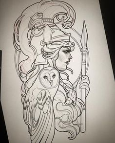 ATHENA Ready for this week at ! Greek Goddess Tattoo, Greek Mythology Tattoos, Greek Mythology Art, Leg Tattoos, Arm Tattoo, Body Art Tattoos, Sleeve Tattoos, Tattos, Tattoo Sketches