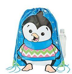 Penguin Loot Bag Backpacks.  Love penguins? Store cool treasure in these cute polyester backpacks. Each bag has a drawstring closure & felt feet.