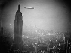 Airships - Zeppelins - Posters and Art Prints - Zeppelin Hindenburg Floats Past Empire State Building