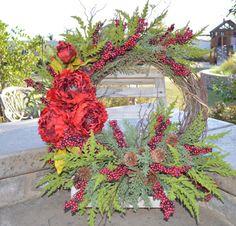 Fall Wreath Berry Wreath Pine Wreath Holiday by TheBloomingWreath Holiday Wreaths, Holiday Decor, Berry Wreath, Christmas Shopping, Pine, Berries, Creative, Handmade, Etsy