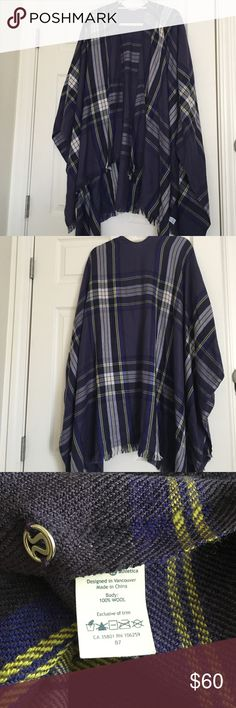 Lululemon scarf - purple plaid Wrap yourself up in this large wool scarf - one size! Wear it as a cape! Minor pull in last picture. The other side of the fabric doesn't show any flaws! Very flattering drape lululemon athletica Accessories Scarves & Wraps