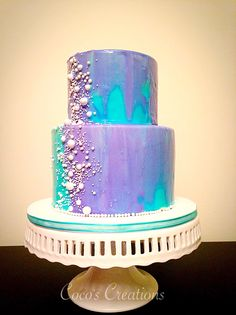 Teal and purple mirror glazed 2 tier cake by Coco's Creations Ottawa Elegant Birthday Cakes, 2 Tier Birthday Cakes, Sweet 16 Birthday Cake, Birthday Cake Girls, 16th Birthday, Teal Cake, Purple Cakes, Mirror Glaze Cake, Mirror Glaze Wedding Cake