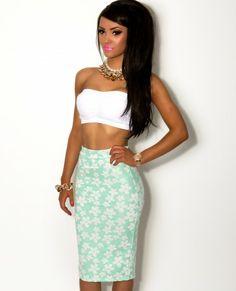 Chelles Mint Green Floral Bodycon Midi Skirt