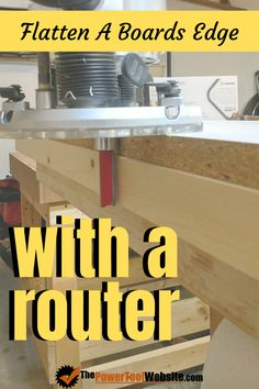 If you need to flatten one side of a board, you use this trick to get perfect results using a handheld router. No expensive jointer required after all! Great small-shop woodworking technique. | The Power Tool Website | #edgejointing #flatboard Unique Woodworking, Learn Woodworking, Woodworking Techniques, Easy Woodworking Projects, Diy Wood Projects, Woodworking Plans, Tool Website, Wood Slice Crafts, Wood Plans