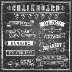 Set of vintage banners and ornaments. Each object is grouped and file… Vintage Chalkboard Banners Royalty Free Stock Vector Art Illustration Blackboard Art, Chalkboard Writing, Chalkboard Banner, Vintage Chalkboard, Chalkboard Designs, Chalkboard Ideas, Chalkboard Drawings, Chalkboard Typography, Chalkboard Walls