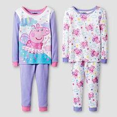 Toddler Girls' Peppa Pig 4 Piece Pajama Set-Purple : Target