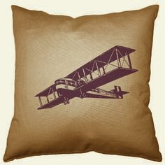 airplane vintage pillow chocolate by violetsprintshop on Etsy, $20.00 aviator lover gift for him or her