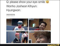 Wonho // Jooheon // Kihyun // Monsta X Monsta X Hyungwon, Shownu, Jooheon, Kihyun, Kdrama Memes, Funny Kpop Memes, Kid Memes, Monsta X Funny, Kpop Guys
