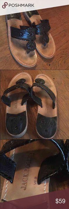 JACK ROGERS black sandals size 8 Jack Rogers sandals, black, size 8, excellent pre owned condition. No box. Not eligible for bundle discount. SHARP!!!!! Jack Rogers Shoes Sandals