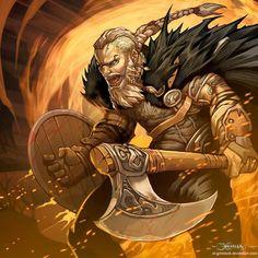 Ragnar Lothbrok by el-grimlock Vikings barbarian berserker fighter shield axe… Fantasy Warrior, Fantasy Male, Fantasy Rpg, Medieval Fantasy, Ragnar Lothbrok, Dungeons And Dragons Characters, Dnd Characters, Fantasy Characters, Art Viking