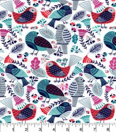 "Snuggle Flannel Fabric 42""-Birds Rose Blue"