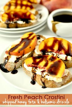 Fresh Peach Crostini with Whipped Honey Feta and Balsamic Drizzle - Iowa Girl Eats Good Food, Yummy Food, Tasty, Brunch, Appetizer Recipes, Party Appetizers, Valentines Food, Sandwiches, The Fresh
