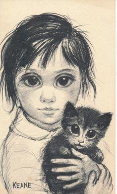 Big Eyes | Vintage Print Photo | 1960's GIRL And Her CAT SKETCH | Margaret Keane | Walter Keane