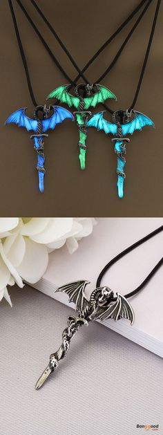 US$4.99 + Free shipping. Fall in love with fashion and cute style! Halloween Vintage Luminous Pendant Necklace Sword Dragon Punk Men Jewelry.