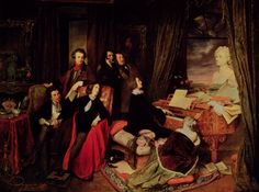 (standing, from left to right) Hector Berlioz Niccolò Paganini Gioacchino Rossini (seated at the piano) Franz, Ritter von Liszt and (as a bust upon the piano) Ludwig van Beethoven painting by Josef Danhauser George Sand, Victor Hugo, Lord Byron, Piano Art, Piano Music, Sheet Music, Maurice Sand, Classical Music Playlist, Portraits