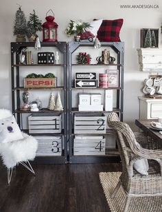 vintage industrial shelves styled for Christmas