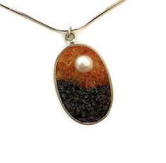 Micro Mosaic Pendant - Pearl, Carnelian and Labradorite