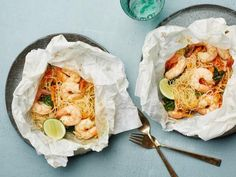 Get Lemongrass Coconut Shrimp and Noodles Parchment Pack Recipe from Food Network