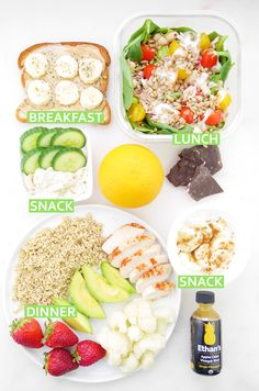 Friday #RDeats! Breakfast: PB banana toast. Snack: cucumber w/ hummus & orange. Lunch: salad + dark chocolate. Snack: yogurt + Ethan's ginger pineapple apple cider vinegar shot (ACV linked to = improved digestion, blood sugar regulation).Dinner: chicken, quinoa, f+v & .