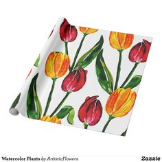Shop Watercolor Plants Wrapping Paper created by ArtisticFlowers. Flower Patterns, Flower Designs, Watercolor Plants, Gift Wrapping Supplies, Custom Wrapping Paper, Matching Gifts, Different Flowers, Red Green, Planting Flowers