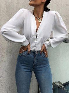 Plain Lantern Sleeve V Neck Long Sleeve Women's Blouse Fall Outfits, Fashion Outfits, Womens Fashion, Cheap Fashion, Fashion Trends, Blouse Styles, Looks Cool, Mode Inspiration, Fashion 2020