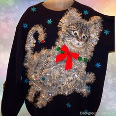 412ee97bd The Mother of All UGLY CHRISTMAS CAT SWEATERS!! Words cannot Describe! Mens  XL #Handmade #Christmas