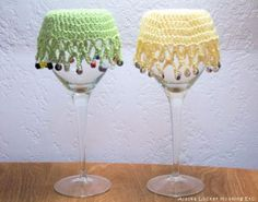 crochet wine glass covers