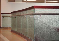 "Palos Community Hospital - Palos Heights, IL  Glass Description:  Glass Handrail  1/2"" Clear Tempered Kiln-Fired Glass  Texture: MD226 Rainforest"