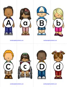 Alphabet Matching - Let these darling children be a catalyst in learning their alphabet! Simply cut the cards apart, mix them up, and have kids match the uppercase to the lowercase letter. These cards are truly adorable! Science Worksheets, Kindergarten Worksheets, Kindergarten Language Arts, Toddler Class, Letter Matching, Uppercase And Lowercase, Alphabet Activities, English Vocabulary, Lower Case Letters