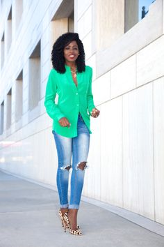 Green DVF Silk Blouse   Distressed Jeans leopard pumps