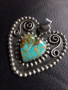 Argento Bello - Artist Amberlie Bandini. Sterling Silver Set Royston Turquoise Heart.