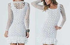Платье с оборками сетчатым вязанием крючком. Схема