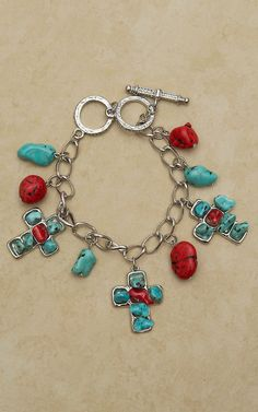 West & Co Silver with Turquoise & Red Stone Cross and Charm Bracelet