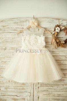 Sheer Neck Ivory Lace Champagne Tulle Wedding Flower Girl Dress