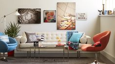 Create a modern living room with Shutterfly pillows, wall art and blankets. Find your favorite quotes to feature and create a mod, yet comfortable space for the family. | www.Shutterfly.com