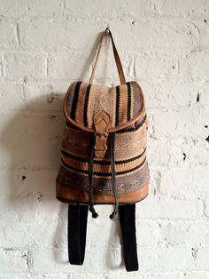 Vtg 90s Woven Southwestern Backpack / Leather Trim Aztec Rucksack / Rustic Bucket Backpack, Bag. $40.00, via Etsy.