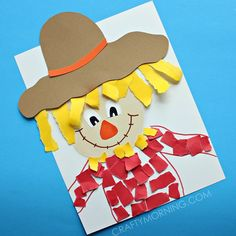 Make a torn paper scarecrow craft with your kids for fall time! Great for fine motor skills too. Make a torn paper scarecrow craft with your kids for fall time! Great for fine motor skills too. Preschool Farm Crafts, K Crafts, Fall Preschool, Kindergarten Crafts, Daycare Crafts, Classroom Crafts, Toddler Crafts, Creative Crafts, Preschool Eggs