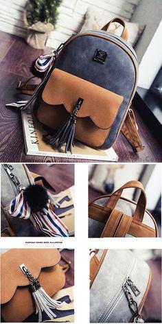 975f7f83d9e4 Leisure Tassel Splicing School Backpack Contrast Color Frosted Girl s  Backpack for big sale !  tassel