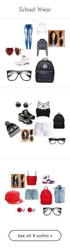 """""""School Wear"""" by prettygi-752 on Polyvore featuring WearAll, Moschino, NIKE, ZeroUV, Betsey Johnson, Barbour International, WithChic, Hogan, Paige Denim and Marvel Comics"""
