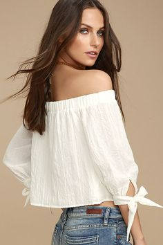 3381d8e6cf585 Cute White Top - Off-the-Shoulder Top - Long Sleeve Top -  38.00