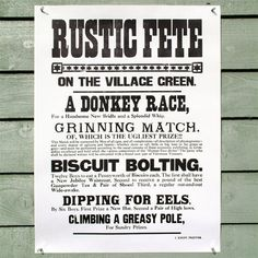 Letterpress printed Rustic Fete poster